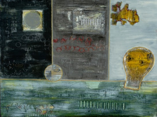 "May Electricity, ""acrylic, World Book encyclopedia, paper, corrugated cardboard, oil crayon on canvas w original poetry, 36""48"", 2005, Stuart Sheldon"