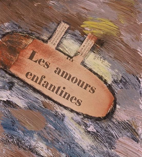 """Les Amours Enfantines, acrylic and antique book on paper, 7""""x6"""", 2004, Stuart Sheldon"""