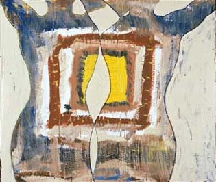 "Don't Box Me In, acrylic on cardboard, 30""x36"", 2002, Stuart Sheldon"