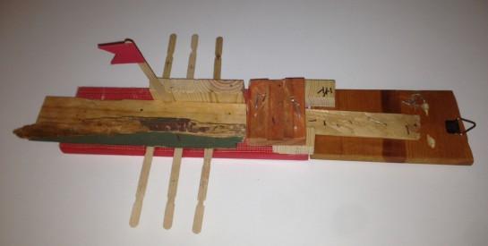 Battleship, found wood, hardware, popsicle sticks, 2013