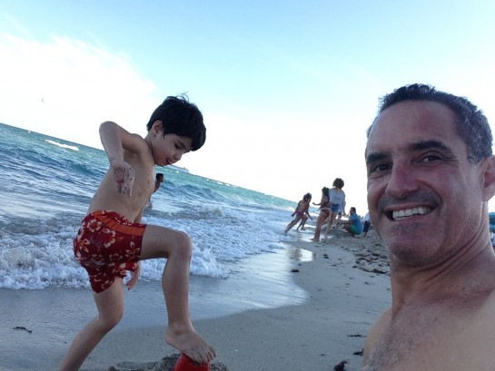 Father & son at the beach