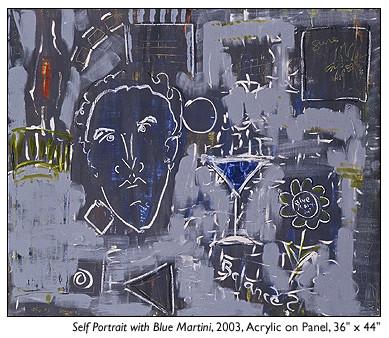 Self Portrait With Blue Martini, Stuart Sheldon