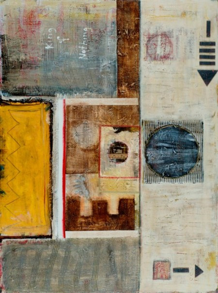 """King of Nothing, acrylic, corrugated cardboard and antique book pages on canvas. 36""""x48"""", 2005, Stuart Sheldon"""