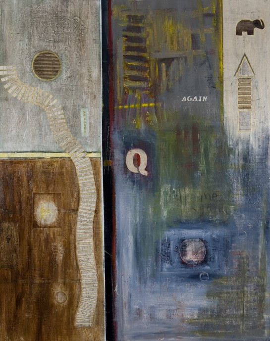 "Tell Me Again, acrylic, oil pastel, corrugated cardboard, antique map, linen, paper on panel on wood, 60""x48"", 2006, Stuart Sheldon"