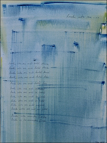 """Look Into Me, acrylic and oil crayon on canvas with original poetry, 48""""x36"""", 2001, Stuart Sheldon"""