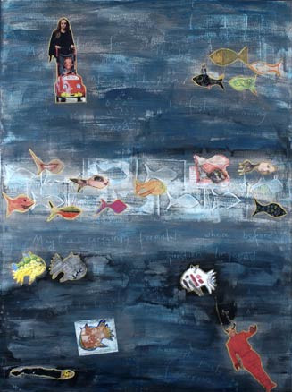 """Swim Together, acrylic, resin, paper, wax, tape and ink on canvas with original poetry, 40""""x30"""", 2005, Stuart Sheldon"""