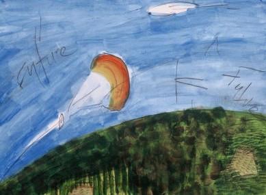 "French Riviera Parasail, acrylic and graphite on paper, 11""x16"", 2004, Stuart Sheldon"