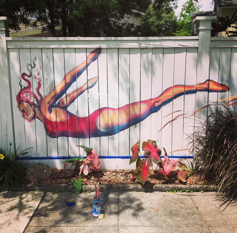 Mural by local art students in progress outside Ron's home - inspired by Swan Dive