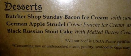 The dessert menu at dinner 2 nights ago