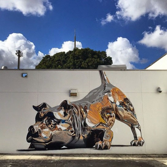 Chrome Dog by Puerto Rican street artist Bikism