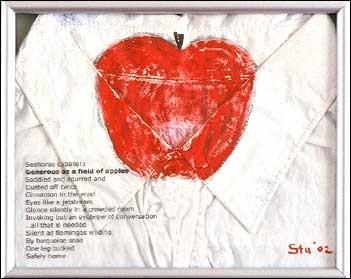 "Generous as a Field of Apples, acrylic on a J Crew cotton shirt, 6.5""x8"", 2002, Stuart Sheldon"
