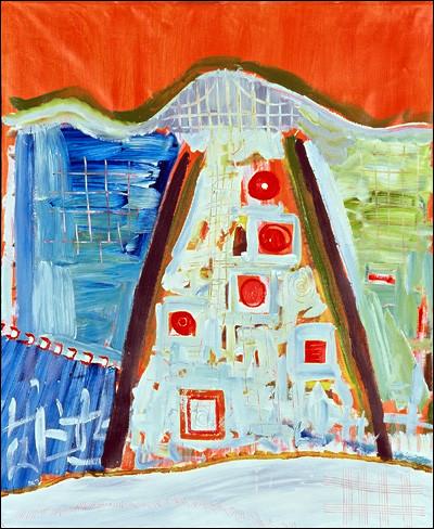 """Streets of Paris - Tour de France, acrylic on canvas, 43""""x36"""", 2003, Stuart Sheldon"""