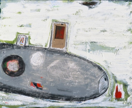 """The Stop to My Go, acrylic, playing card, cardboard, paper, oil pastel, resin on panel with original poetry, 32""""x42"""", 2004, Stuart Sheldon"""