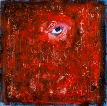 """Stuart Sheldon, Don't Hide Behind Words, acrylic and pastel on canvas, 24""""x24"""", 2004"""