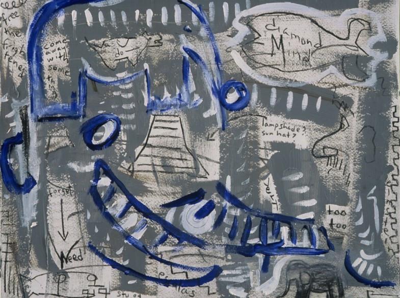 "Einstein's Diamond Mind, acrylic, charcoal on paper, 11.5""x15.5"", 2004, Stuart Sheldon"