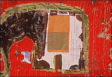 "Regal Elephant, acrylic & Chinese funeral paper on paper, 8""x12"", Stuart Sheldon"