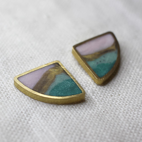 Fan Earrings in Agate with or without Earring Jackets