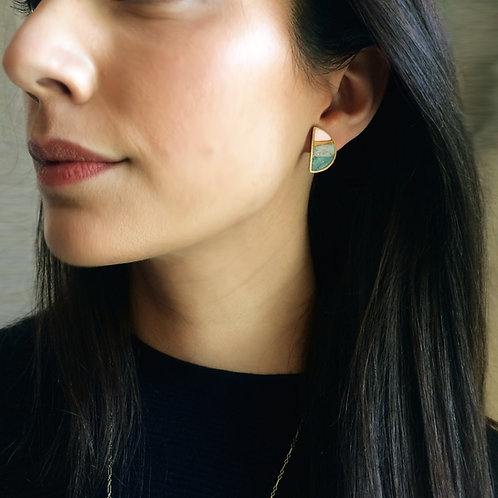 Half Moon Earrings in Agate with/without Earring Jackets
