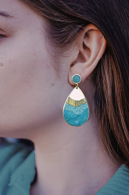 One of a Kind Agate Rain Drop Earrings and Necklace