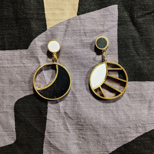 Sun and Moon Earrings in Black and White
