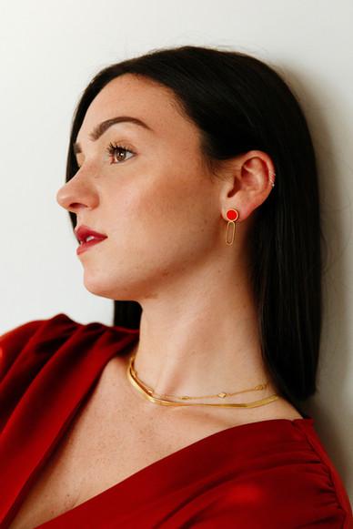 Dot Dash Earrings in Red