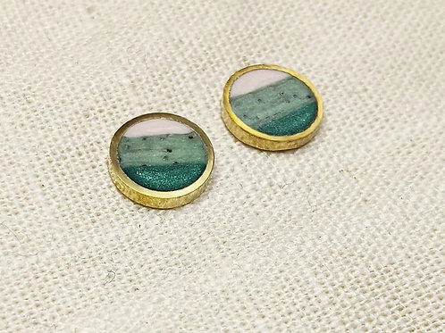 Striped Circle Studs in Agate - Ready to Ship