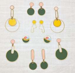 A collection of earrings including pieces from the Southern California Collection.