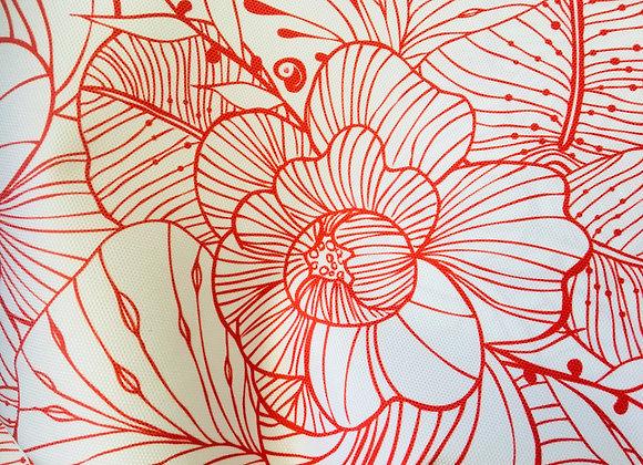 """Coupon de tissu imperméable """"Jardin rouge argile"""""""