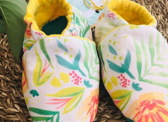 """Kit chaussons bébé """"Bouquet ensoleillé"""""""