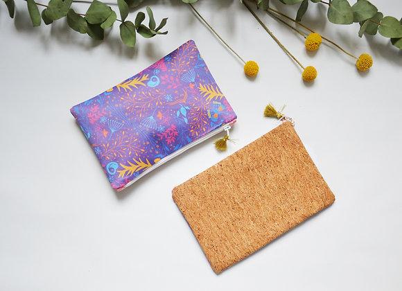 "Kit pochette ""Motif fleuri violet"""