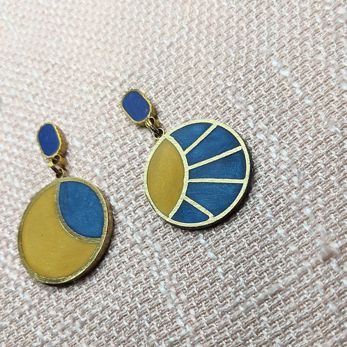 Sun and Moon Earrings in Blue and Yellow - Ready to Ship