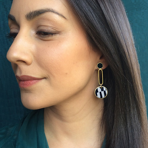 One of a Kind Drop Earrings in Black and White
