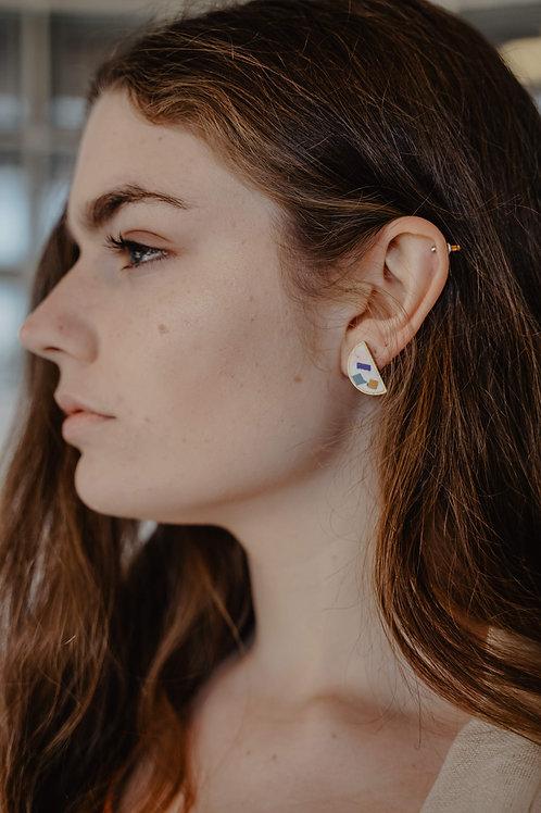 Half Moon Earrings in Denim Confetti - Ready to Ship