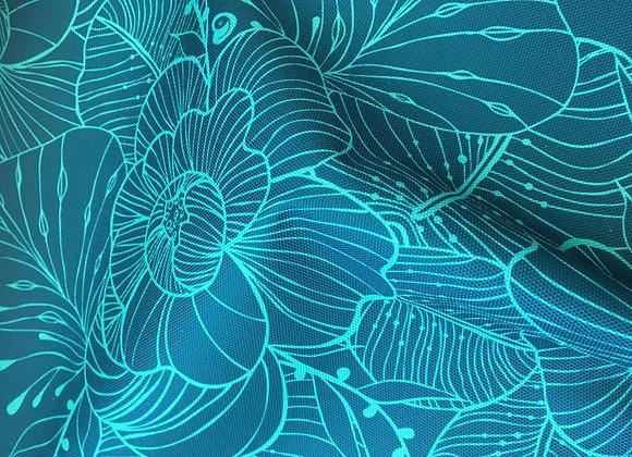 """Coupon tissu imperméable """"Jardin bleu montagne/turquoise"""""""