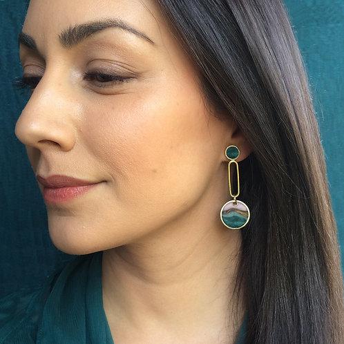 One of a Kind Long Baby Drops Earrings in Agate