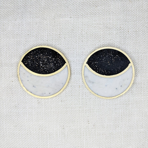 Moon Button Earrings in Your Choice of Colors