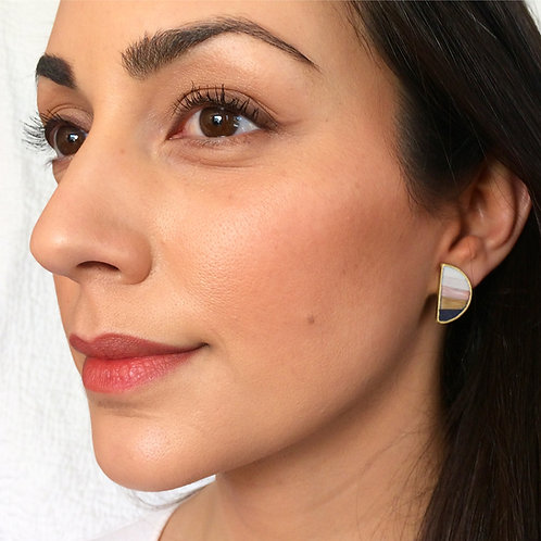 Half Moon Earrings in Sandia Sunset with or without Earring Jackets