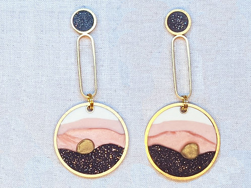 Big Circle Drop Earrings in Sandia Sunset