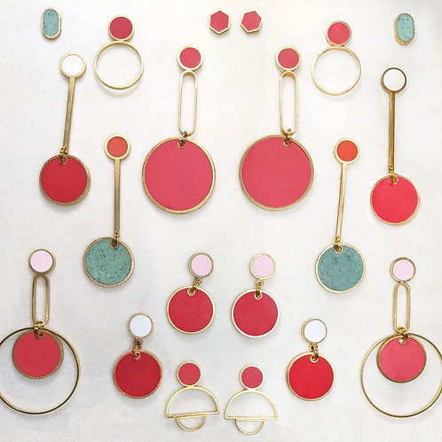 Ready to Ship Earrings in Red and Pink Kusama Dots