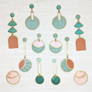 A collection of lightweight, colorful earrings