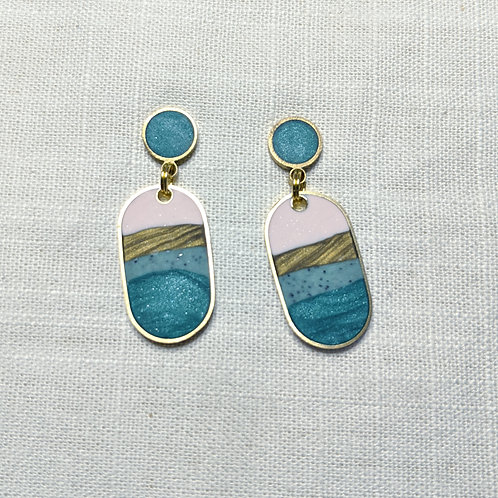 One of a Kind Baby Ovals Earrings in Agate