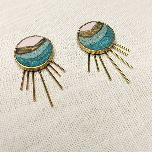 Button Earrings in Agate with/without Earring Jackets