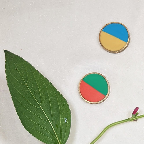Button Earrings in Botany Clash