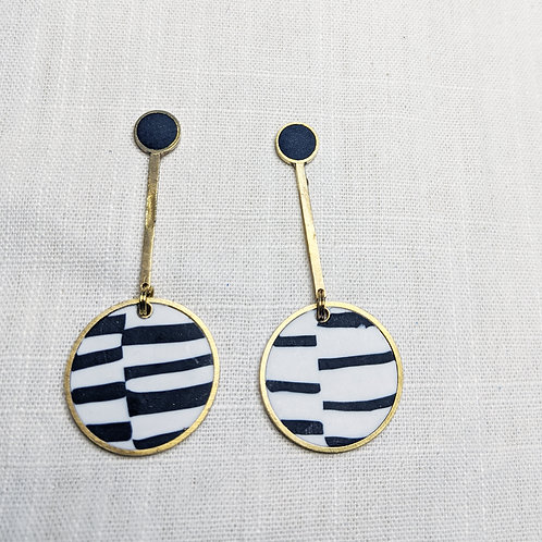 One of a Kind Black and White Big Drop Earrings
