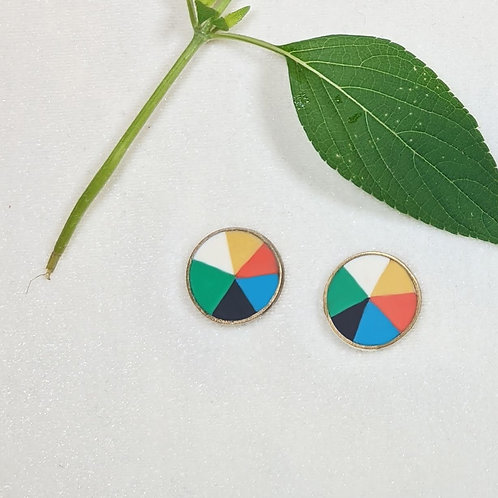 Button Earrings in Botany Color Wheel