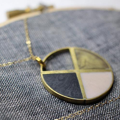 Color Block Circle Necklace in Your Choice of Colors