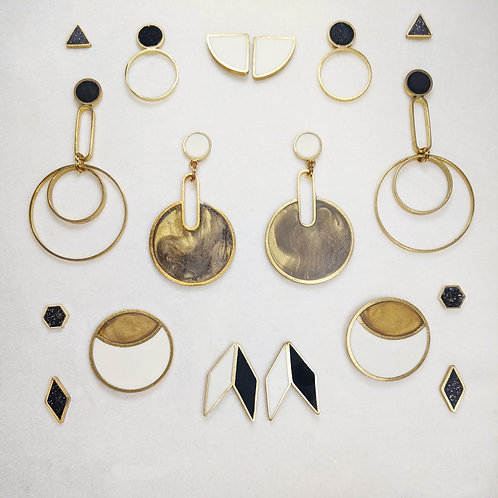 Ready to Ship Earrings in Black, Cream, and Gold