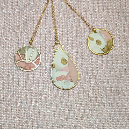 One of a Kind Necklaces Inspired by Marbling
