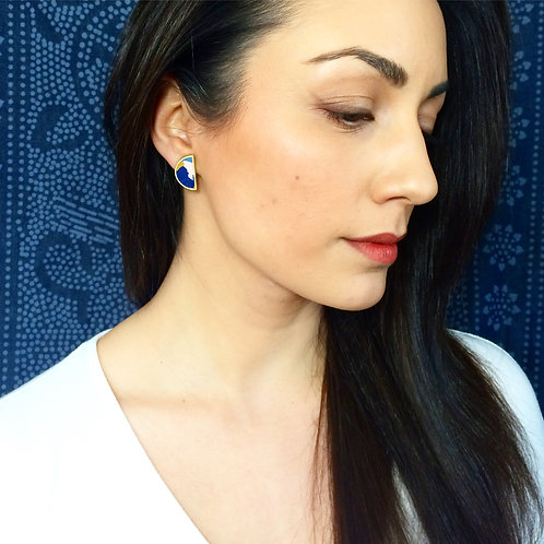 One of a Kind Half Moon Earrings in Denim Collage