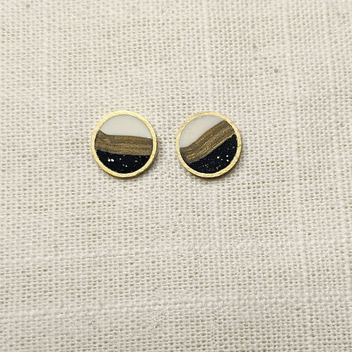 Striped Circle Studs With/Without Earring Jackets